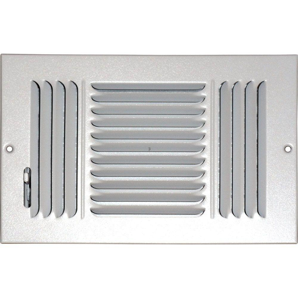 6 in. x 10 in. Ceiling/Sidewall Vent Register, White with 3-Way