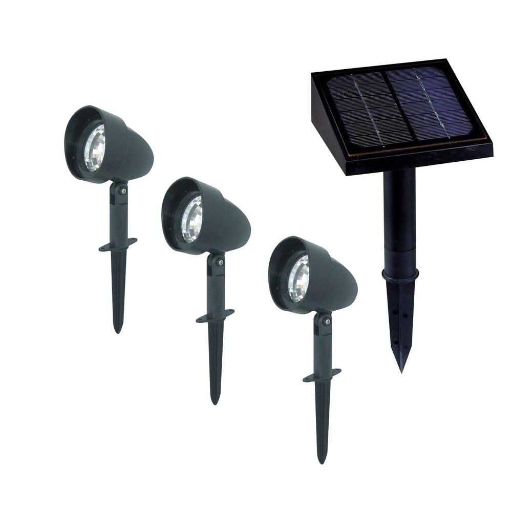 Classy Caps 3-Light Outdoor Black Solar Landscape Spotlight-SL489 - The Home