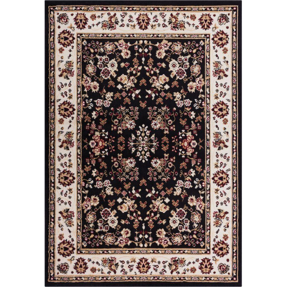 Well Woven Miami Bijar Classic Black 8 ft. 2 in. x 9 ft. 10 in. Traditional Area Rug
