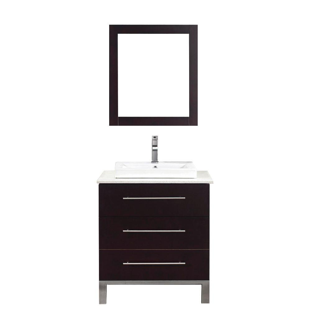 Studio Bathe Ginza 28 in. Vanity in Chai with Nougat Quartz Vanity Top in Chai and Mirror