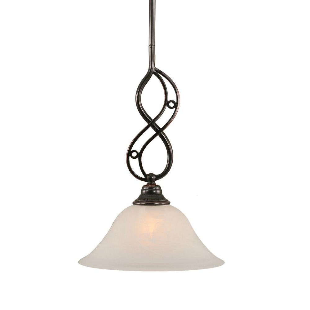 1-Light Black Copper Pendant with White Alabaster Glass