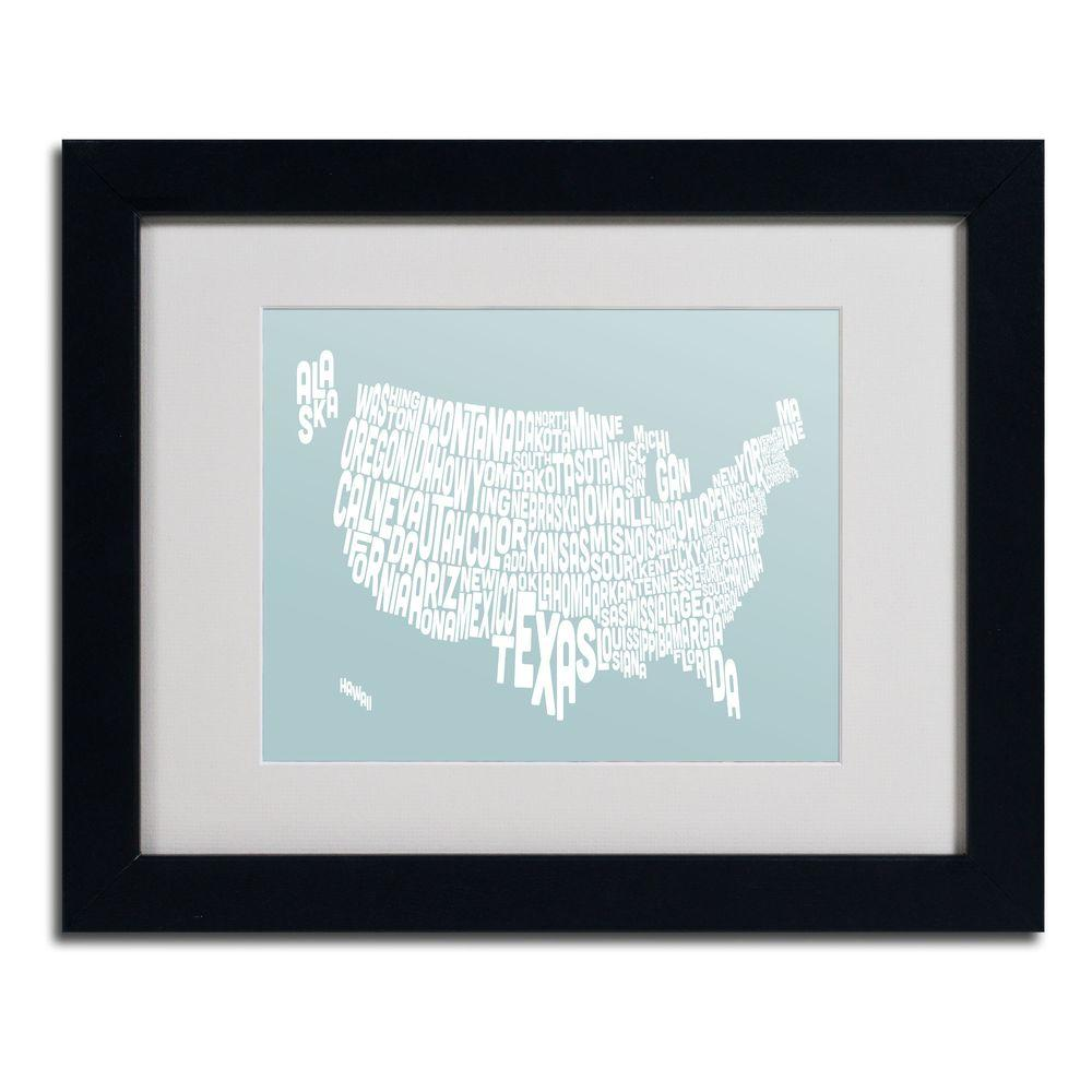 Trademark Fine Art 11 in. x 14 in. USA States Text Map - Duck Egg Matted Framed Art