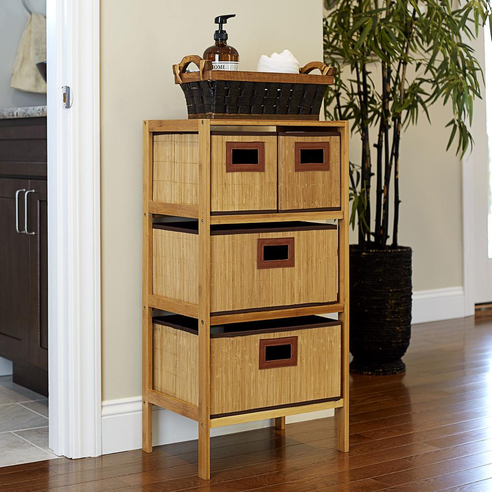 4 Shelf Chest with Bamboo KD Drawers (Small - 8 in.