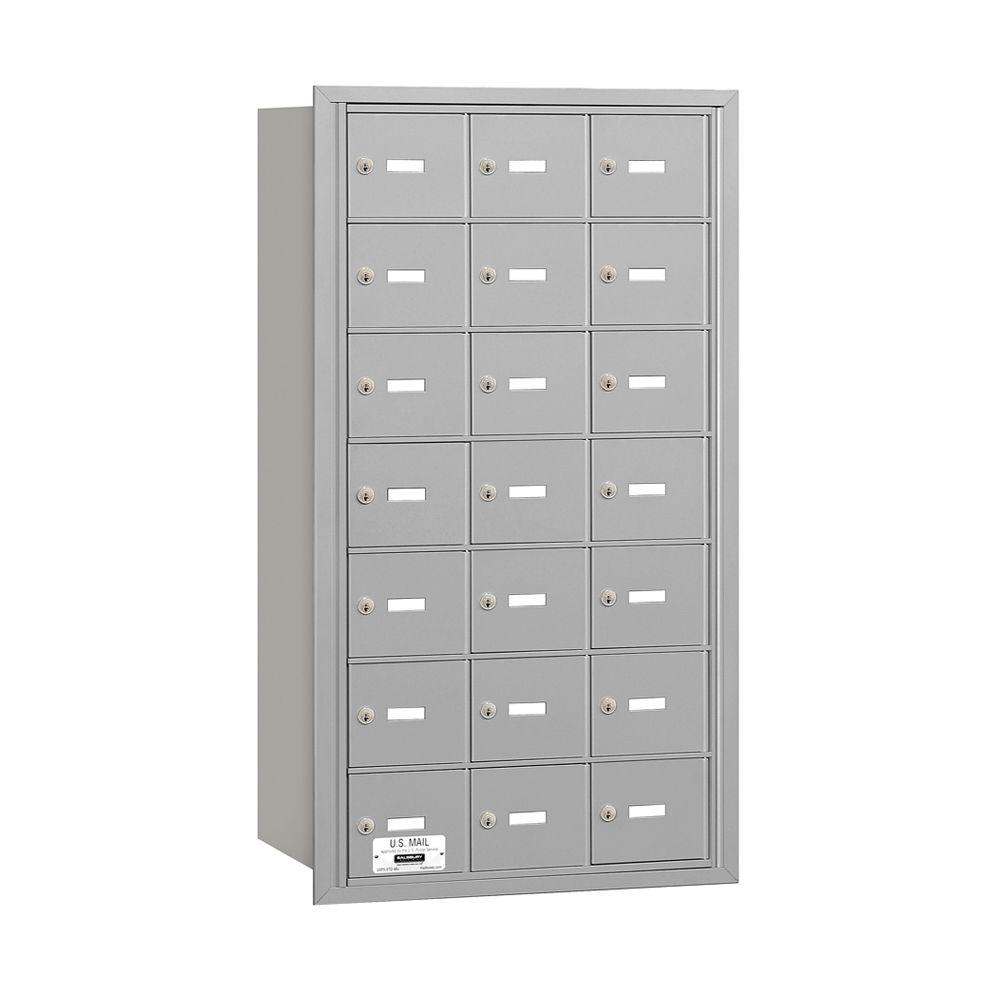 3600 Series Aluminum (Silver) Private Rear Loading 4B Plus Horizontal Mailbox with 21A Doors