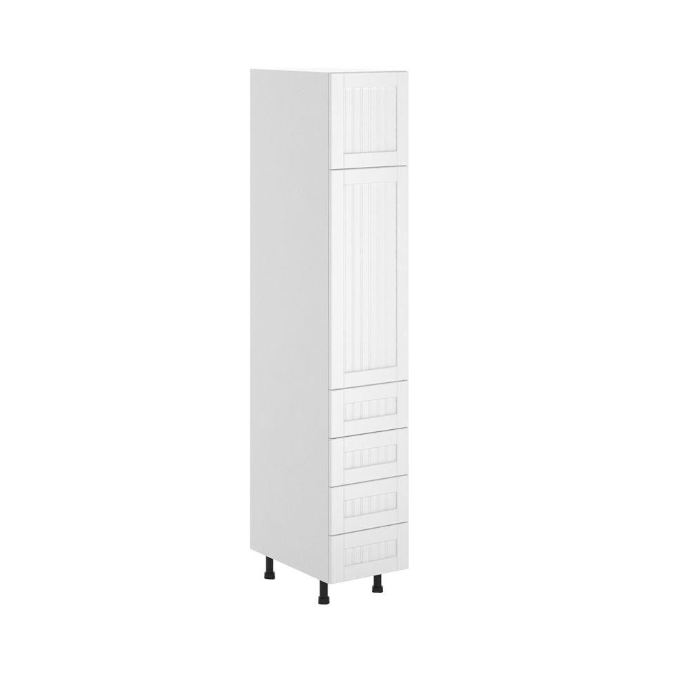 Eurostyle Ready to Assemble 15x83.5x24.5 in. Odessa 4-Drawer Pantry Cabinet in White Melamine and Door in White