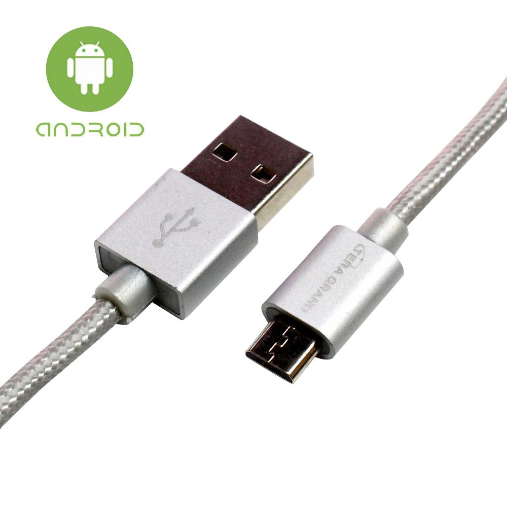 6 ft. USB 2.0 A to Micro USB Braided Cable, Silver