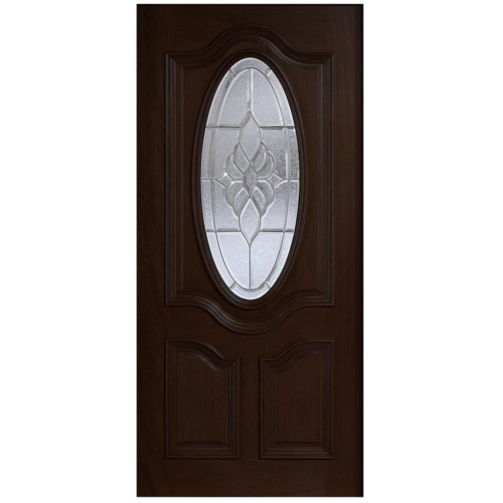Main Door 36 in. x 80 in. Mahogany Type 3/4 Oval Glass Prefinished Espresso Beveled Zinc Solid Stained Wood Front Door Slab
