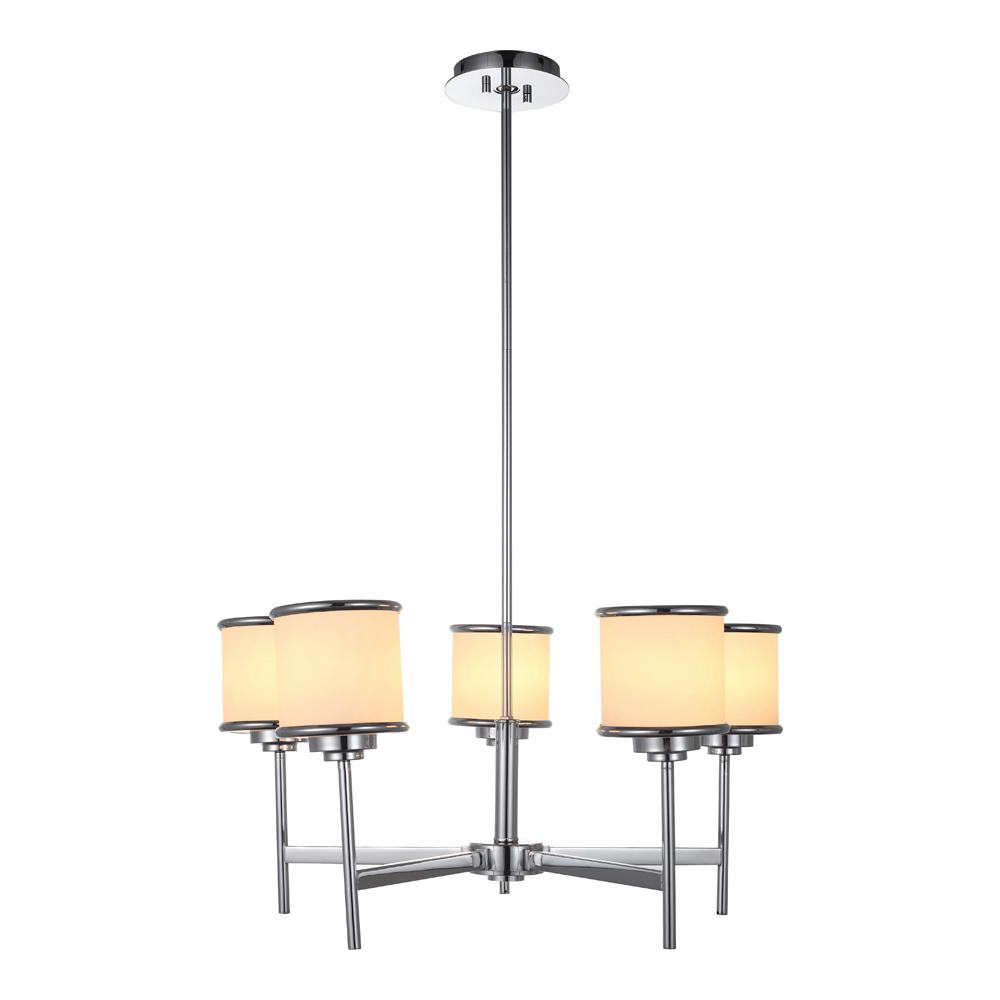 Max I 5-Light Chrome Chandelier with Frosted Glass Shades