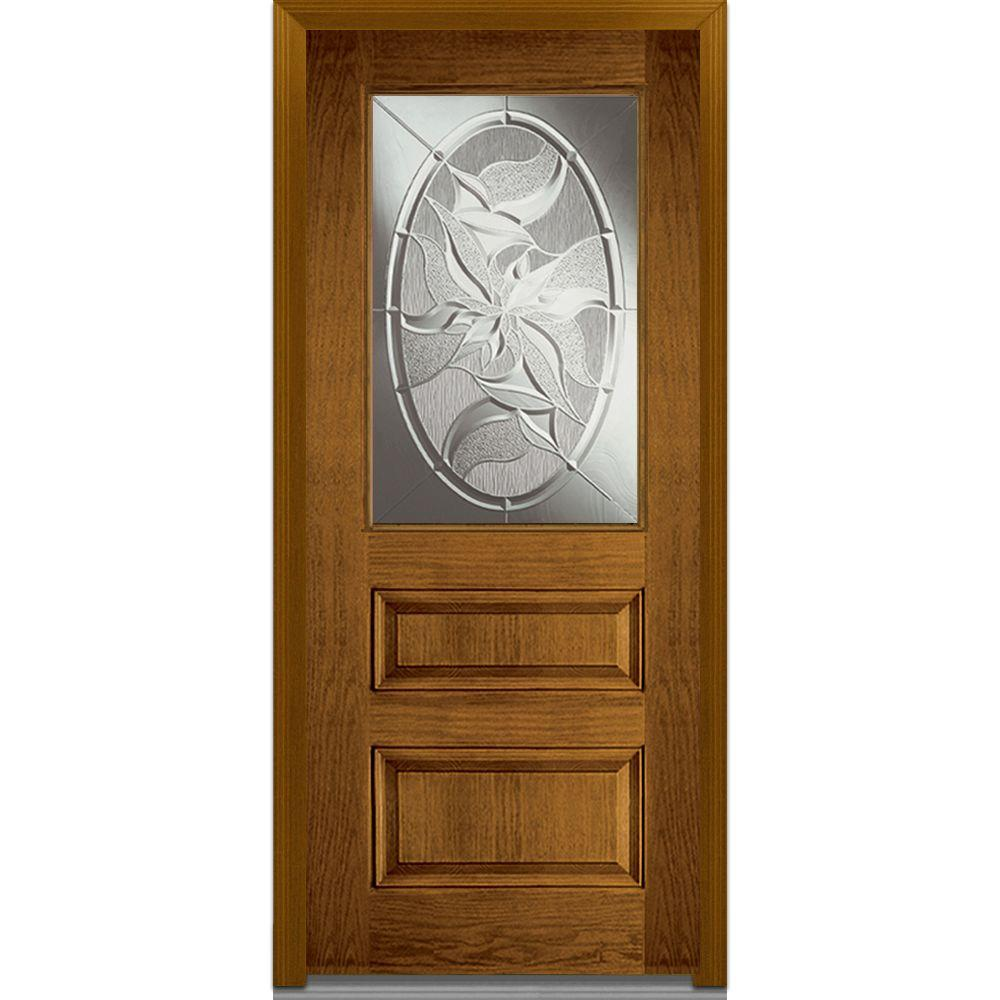 Milliken Millwork 36 in. x 80 in. Lasting Impressions Decorative Glass 1/2 Lite 2-Panel Finished Oak Fiberglass Prehung Front Door