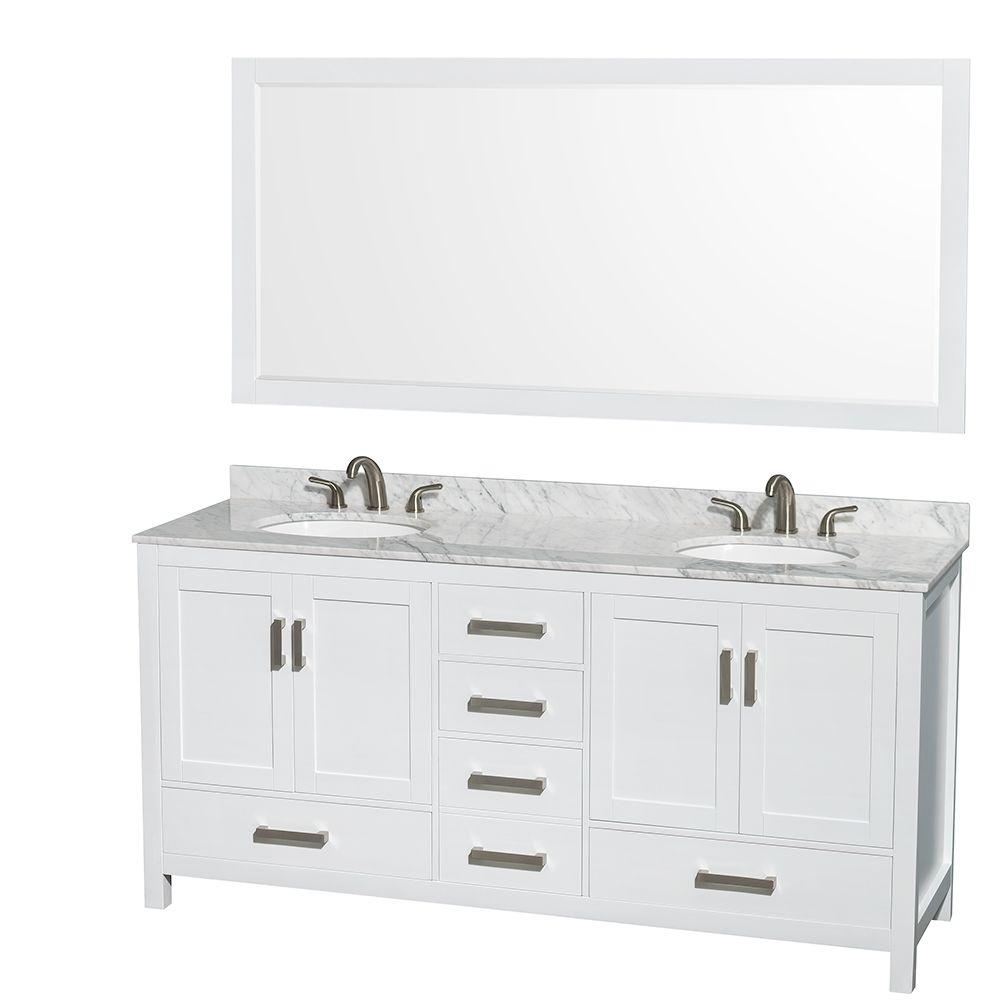 Wyndham Collection Sheffield 72 in. Double Vanity in White with Marble
