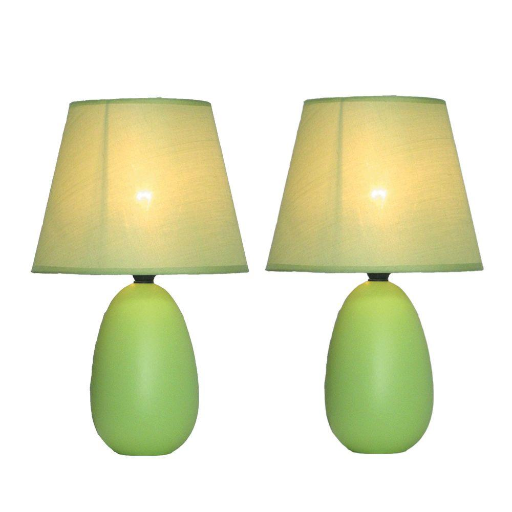 Simple Designs Mini 9 in. Egg Oval Green Ceramic Table Lamp (2-Pack)