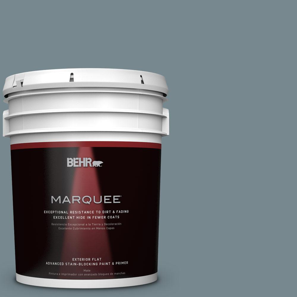 BEHR MARQUEE 5-gal. #N470-5 Norwegian Blue Flat Exterior Paint-445405 - The