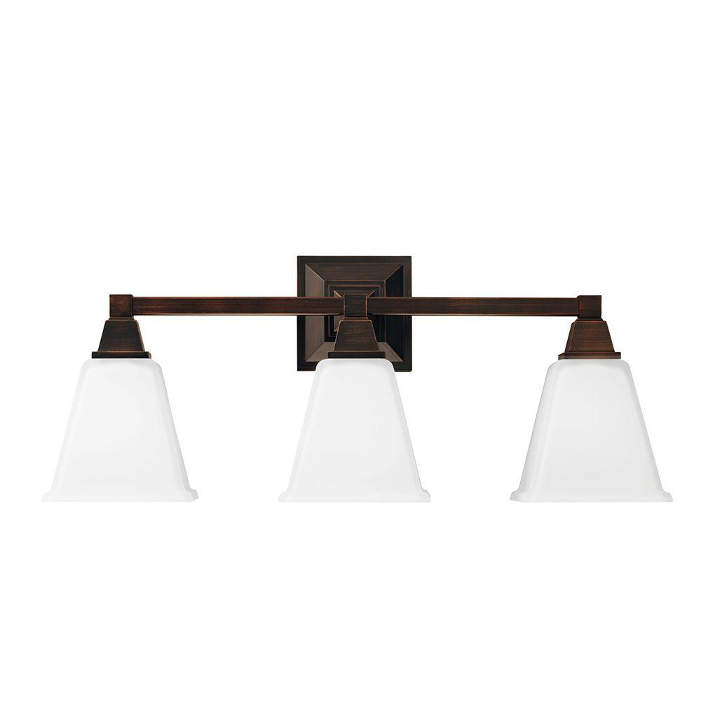 Denhelm 3-Light Burnt Sienna Wall/Bath Vanity Light with Inside White Painted