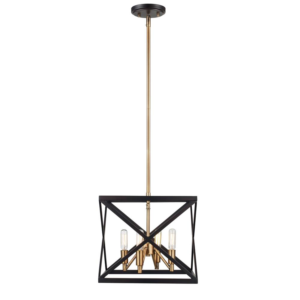 Ackerman 4-Light Rubbed Oil Bronze and Antique Brass Pendant