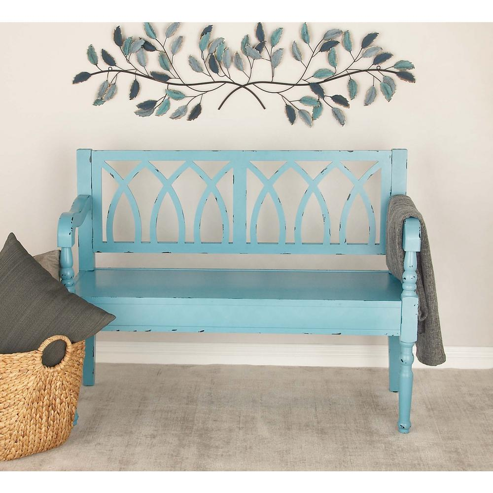 American Home Distressed Teal Wooden Bench 60156 The
