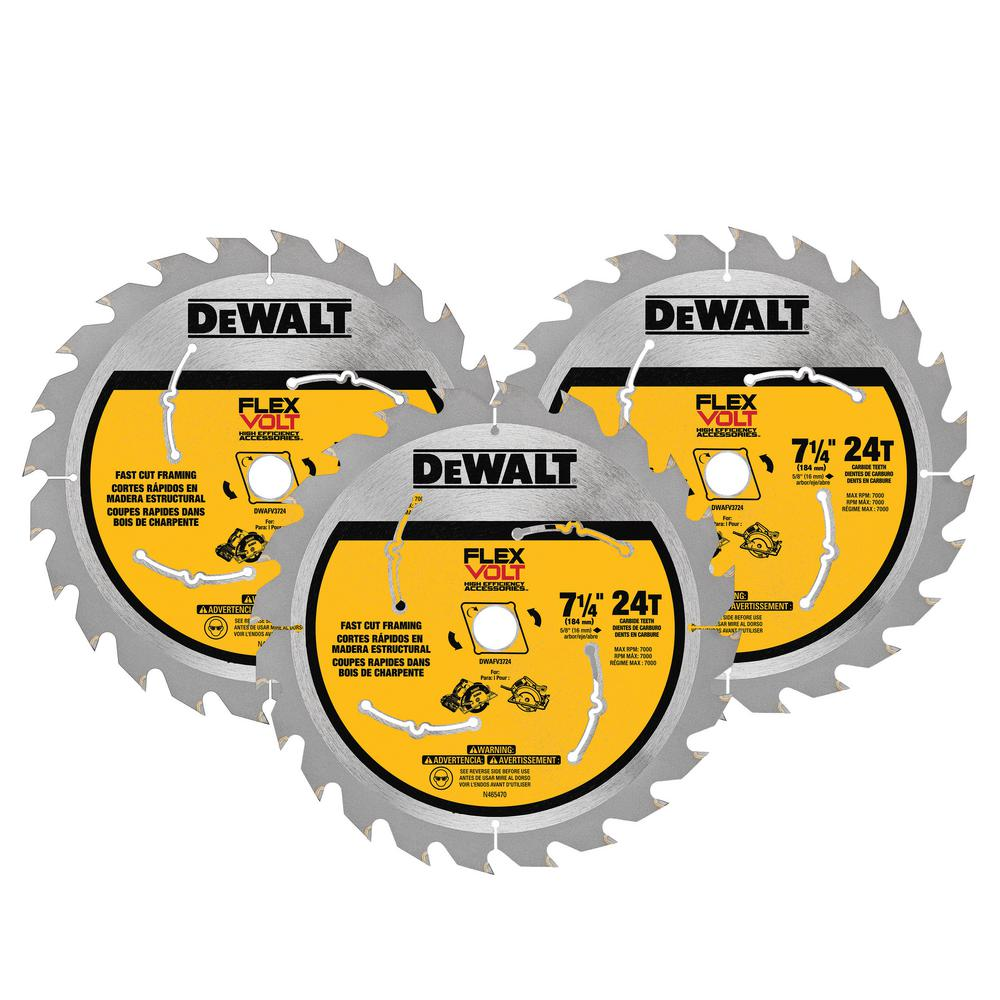 FLEXVOLT 7-1/4 in. 24 Tooth Circular Saw Blade (3-Pack)