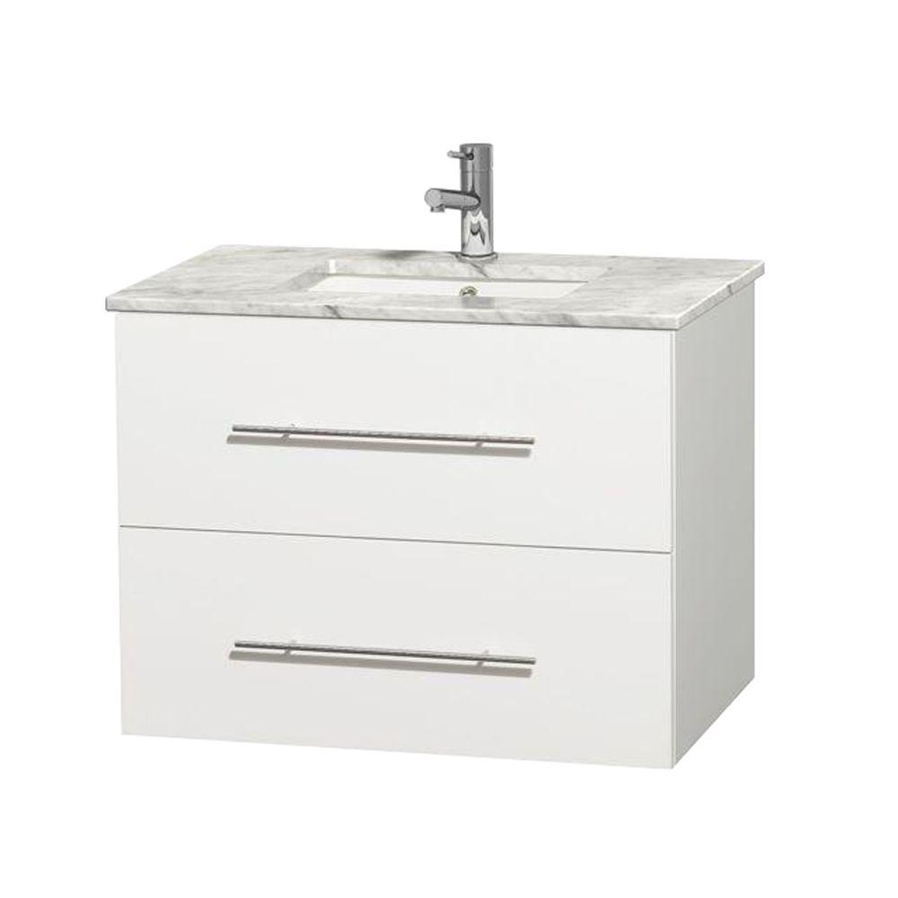 Centra 30 in. Vanity in White with Marble Vanity Top in