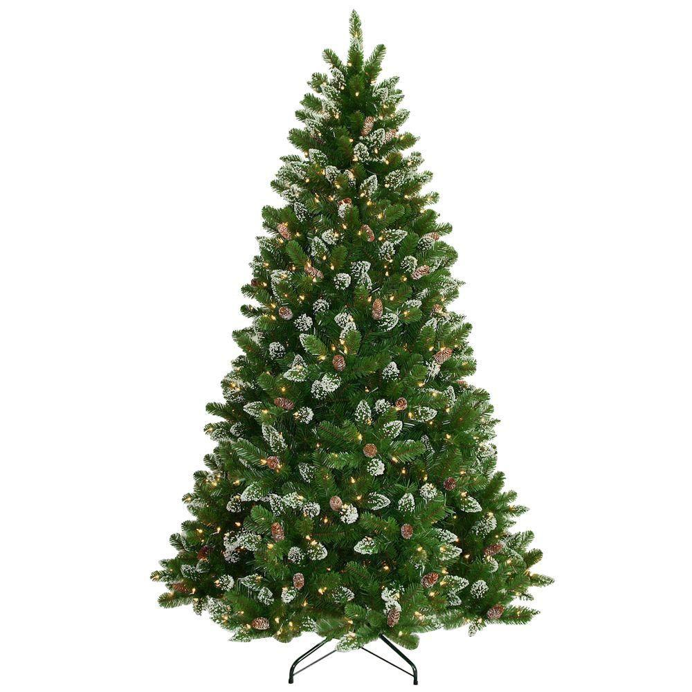 Artificial Christmas Tree With Pine Cones: National Tree Company 7.5 Ft. Crystal Spruce Hinged