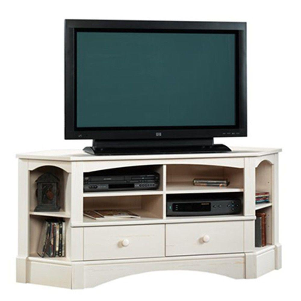 SAUDER Harbor View Collection 61 in. Antiqued White Corner Entertainment