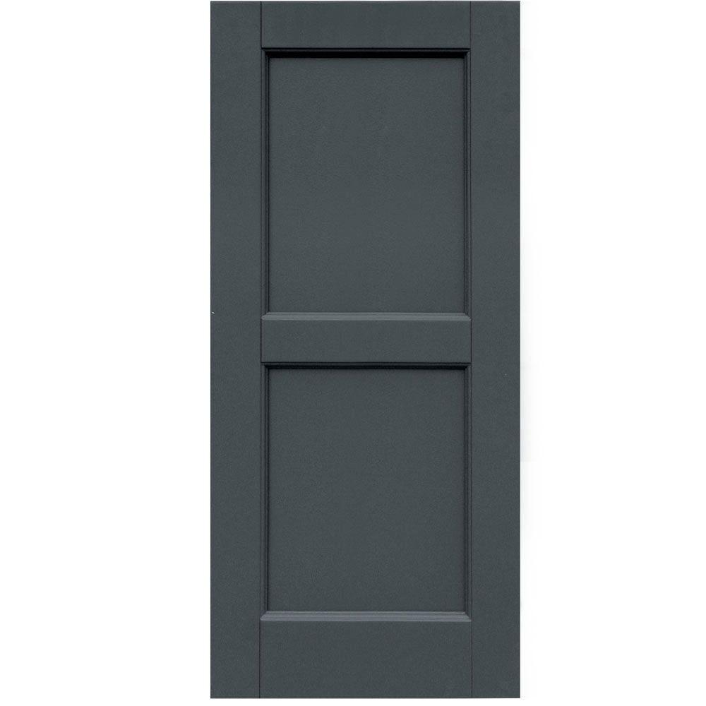 Winworks Wood Composite 15 in. x 34 in. Contemporary Flat Panel Shutters Pair #663 Roycraft Pewter