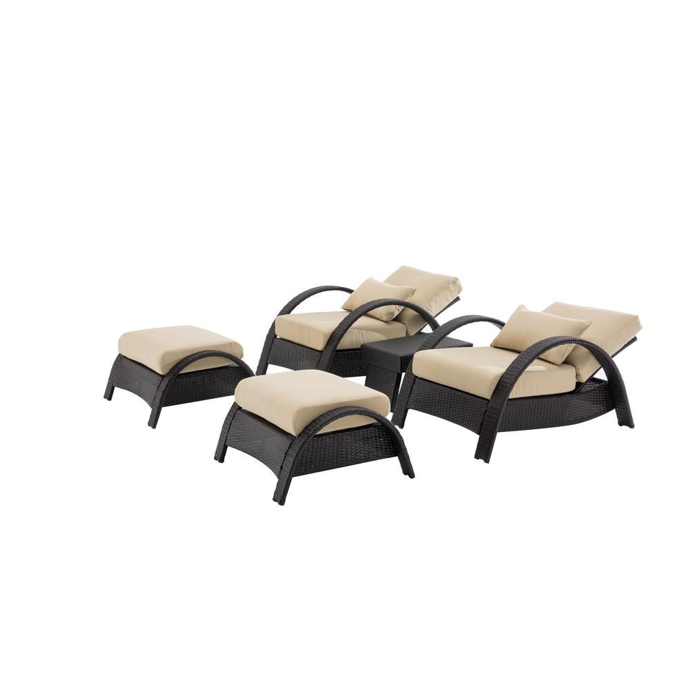 Columbia 5-Piece Patio Deep Seating Set with Beige Cushions