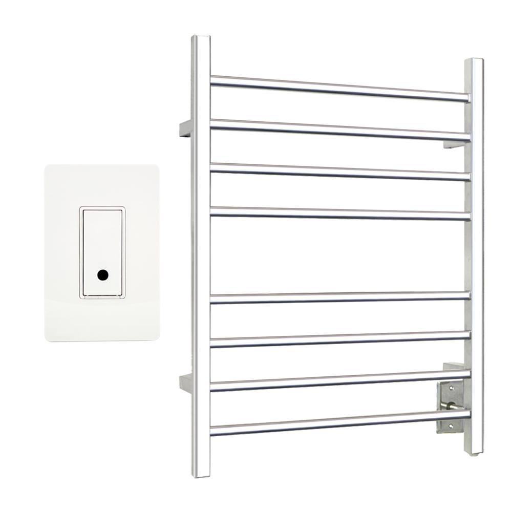 Sierra 8-Bar Towel Warmer in Polished Stainless Steel (Hardwired) with WeMo