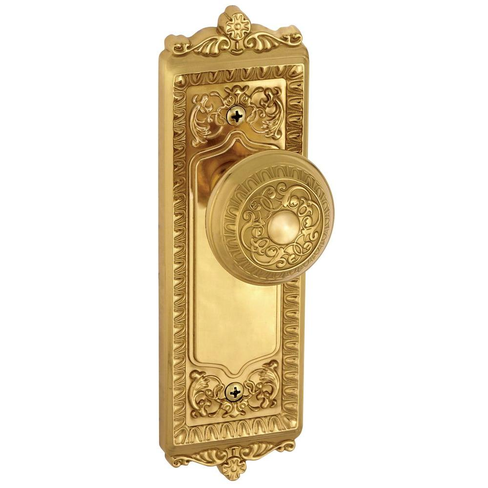 Grandeur Windsor Polished Brass Plate with Privacy Knob-WINWIN-40-PB - The Home