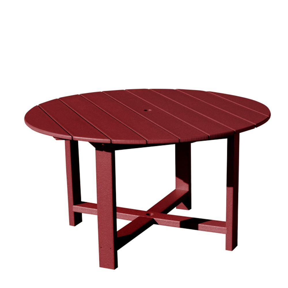 Vifah Roch Recycled Plastics 51 in. Round Patio Dining Table in Burgundy-DISCONTINUED