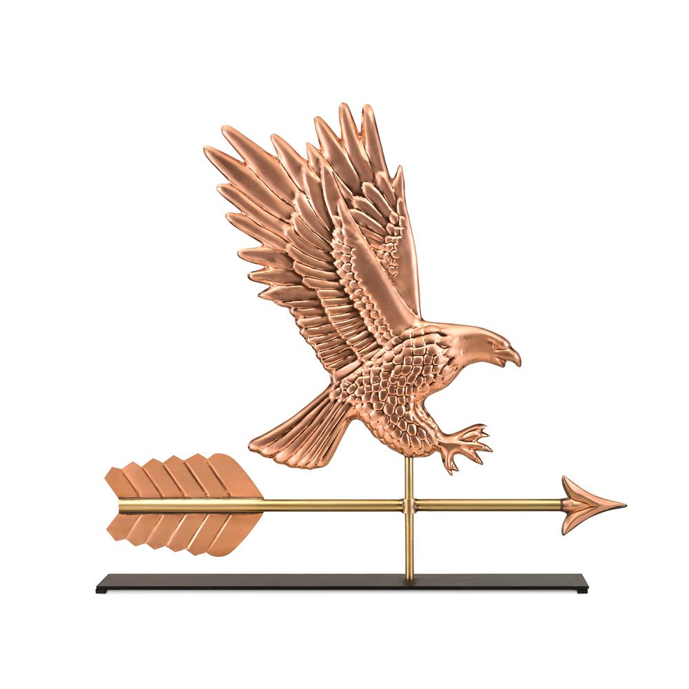 American Bald Eagle Pure Copper Weathervane Sculpture on Mantel Stand