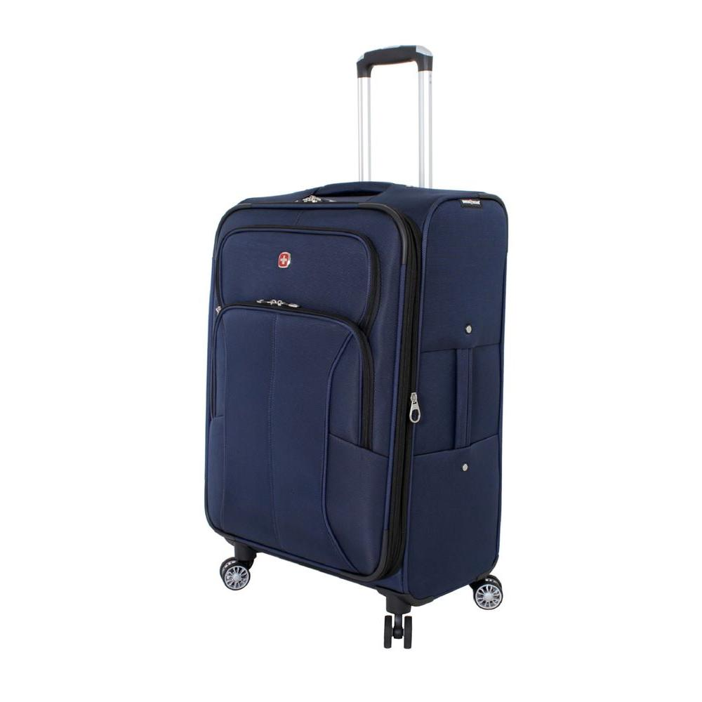 24 in. Deluxe Upright Spinner Suitcase in Blue