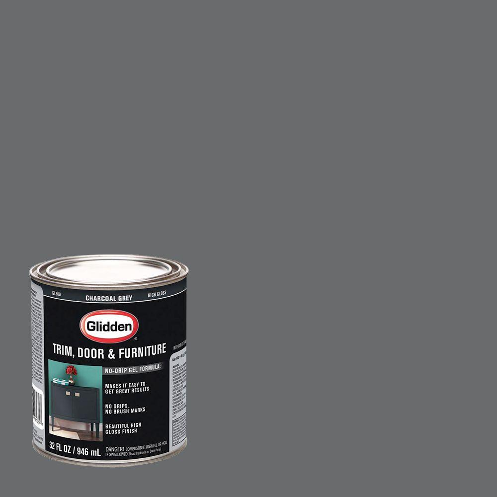 Glidden Trim And Door 1 Qt Charcoal Grey Gloss Interior Exterior Oil Paint Gl 309 04 The Home