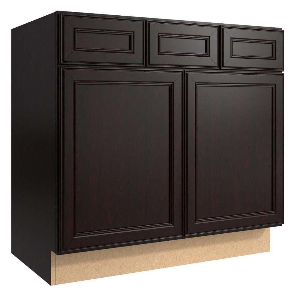 Cardell Cabinets Boden 36 in. W x 21 in. D x 34.5 in. H Vanity Cabinet Only in Coffee VSB362134.2.AF5M7.C63M