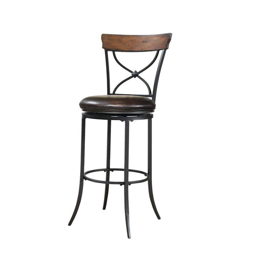 Hillsdale Furniture Cameron 26 in. Swivel X-Back Counter Stool with Brown