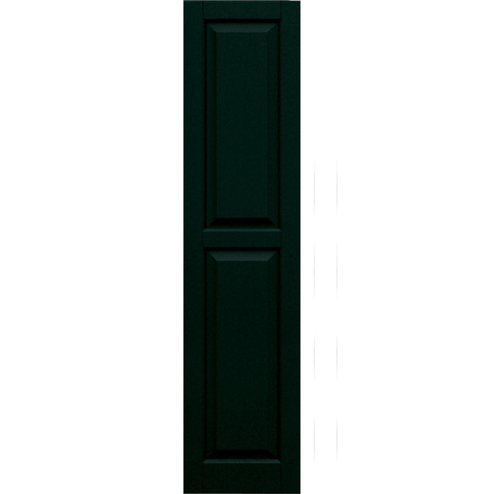 Winworks Wood Composite 15 in. x 64 in. Raised Panel Shutters Pair #654 Rookwood Shutter Green