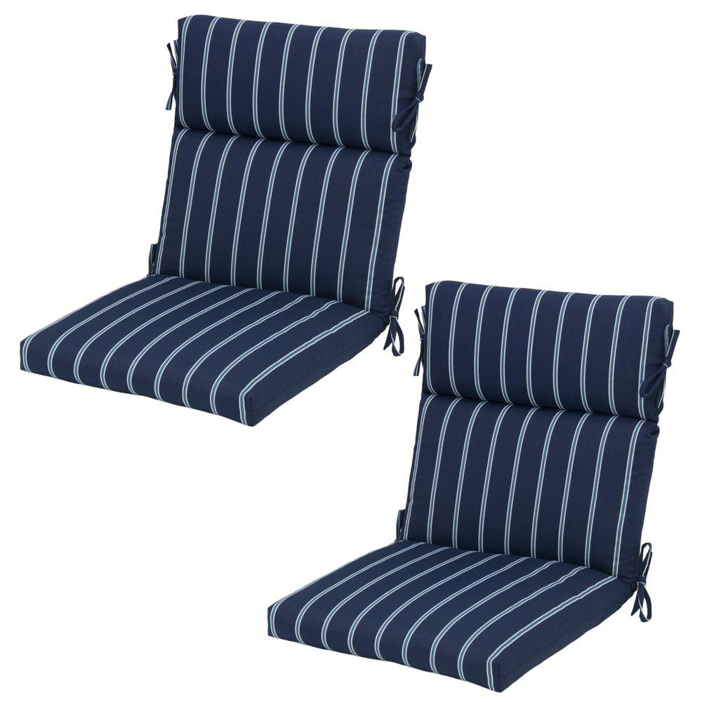 Denim Stripe Rapid-Dry Deluxe Outdoor Dining Chair Cushion (2-Pack)