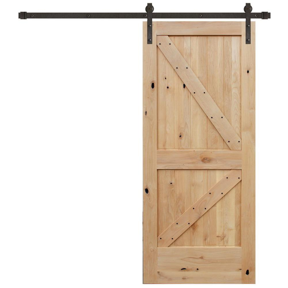 Pacific Entries 36 in. x 84 in. Rustic Unfinished 2-Panel Right Knotty Alder Wood Barn Door with Bronze Sliding Door Hardware kit