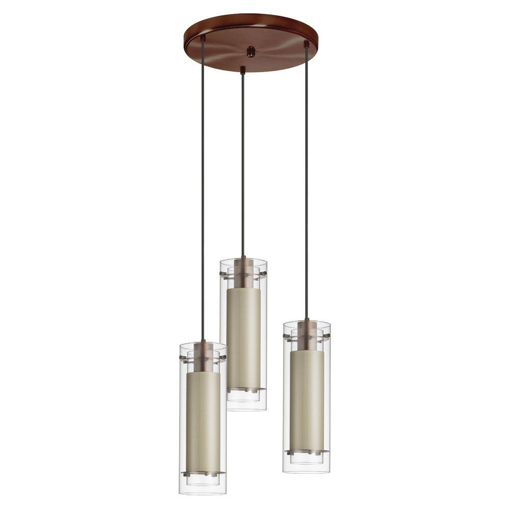 Radionic Hi Tech Nella 3-Light Oil Brushed Bronze Round Pendant with Clear Glass and Diana Tan Fabric Sleeve Black Wire