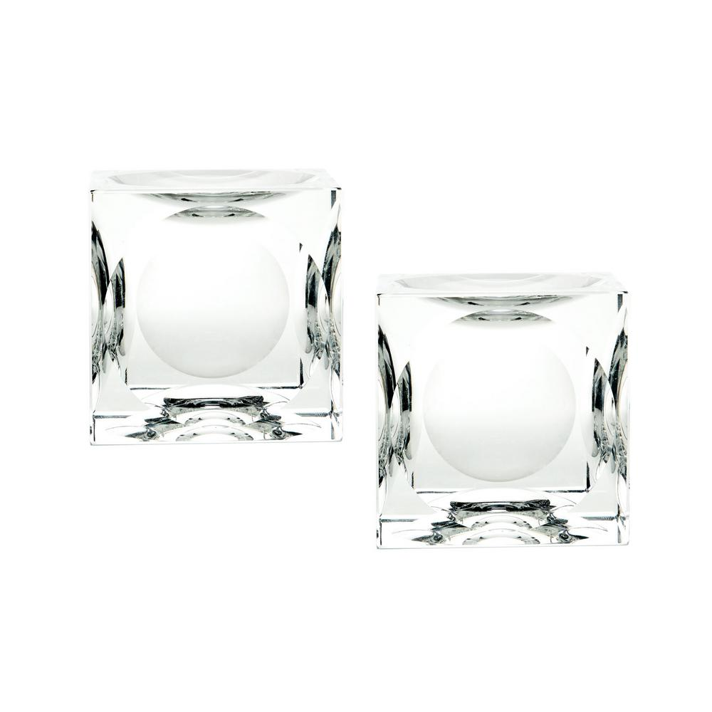 4 in. Dimpled Crystal Cubes Candle Holders (Set of 2)-TN-891996 -