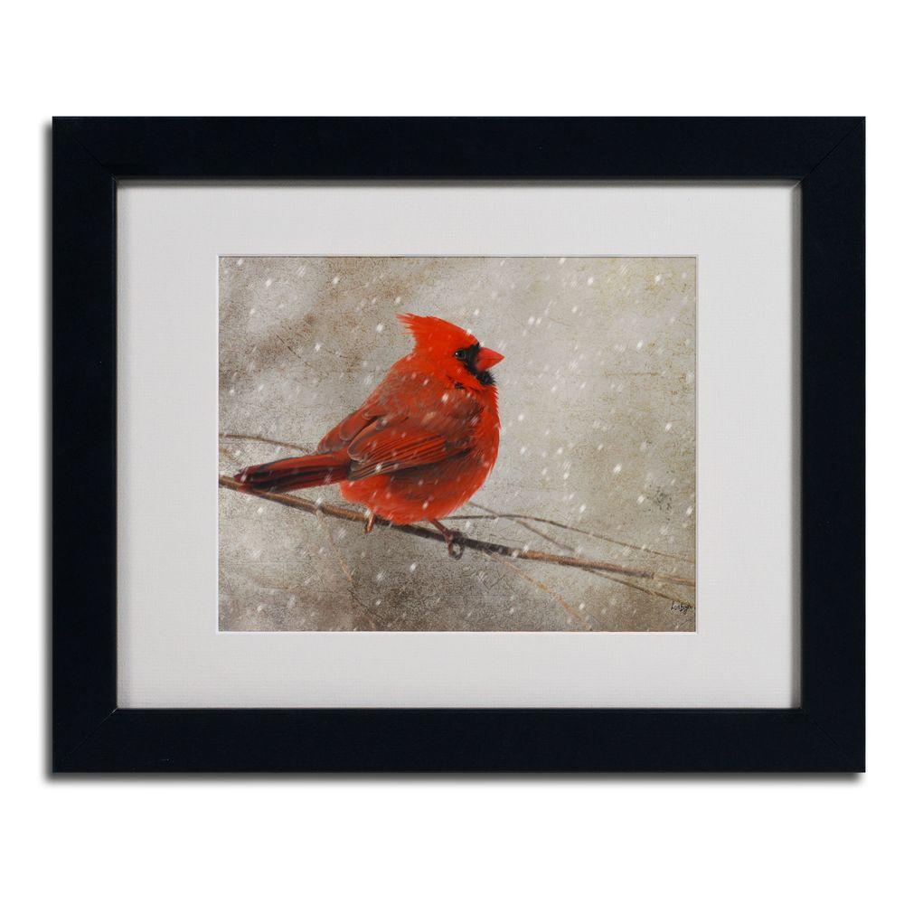 11 in. x 14 in. Cardinal In Winter Matted Framed Art