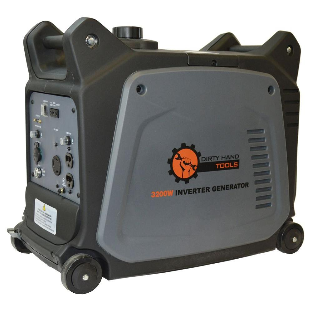 3200-Watt Gasoline Powered Digital Inverter Generator with Electric Start and