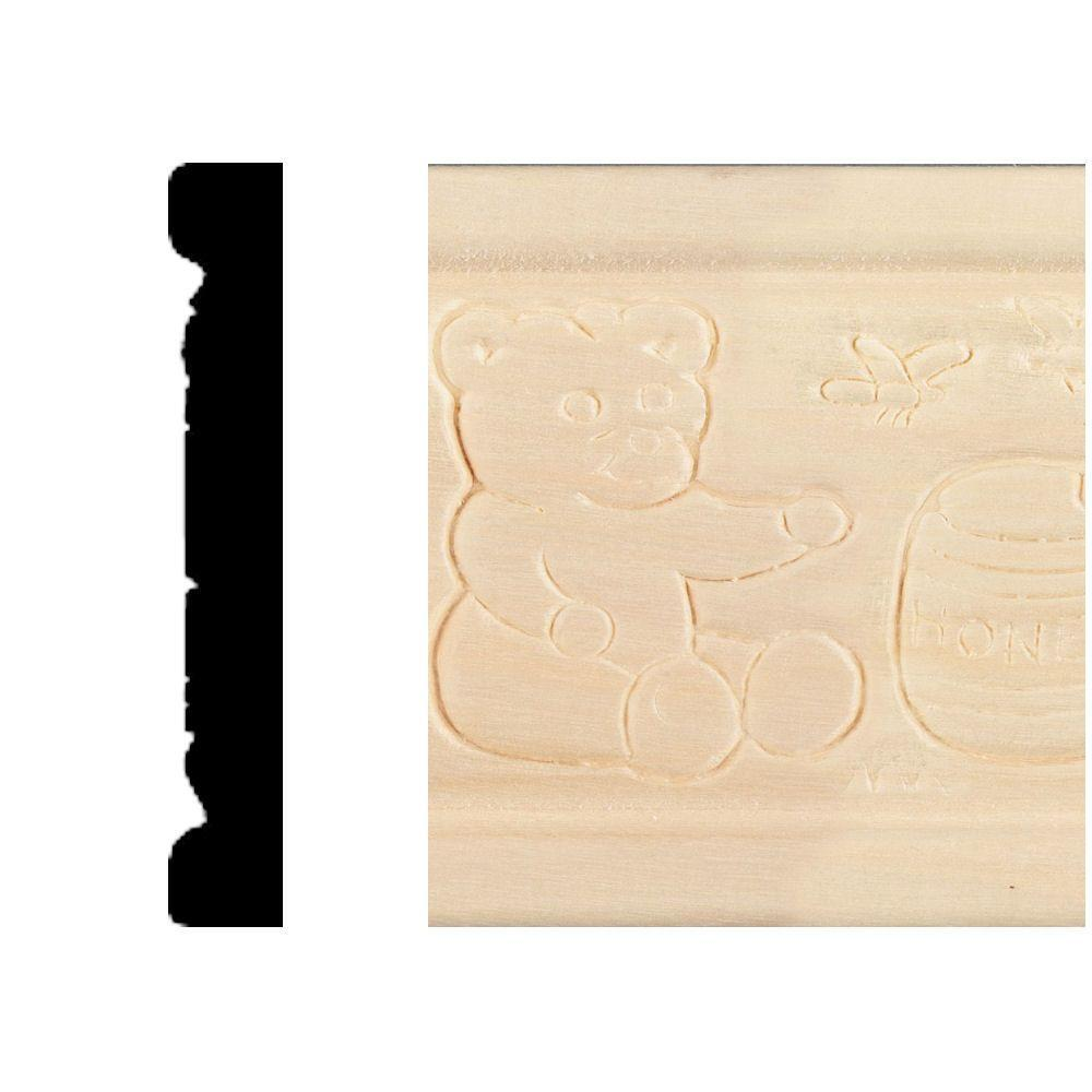House of Fara 3/8 in. x 2-1/2 in. x 8 ft. Hardwood Emboss Teddy Bears Casing/Chair Rail Moulding