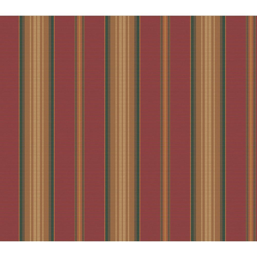 The Wallpaper Company 56 sq. ft. Red Earth Tone Florence Stripe Wallpaper