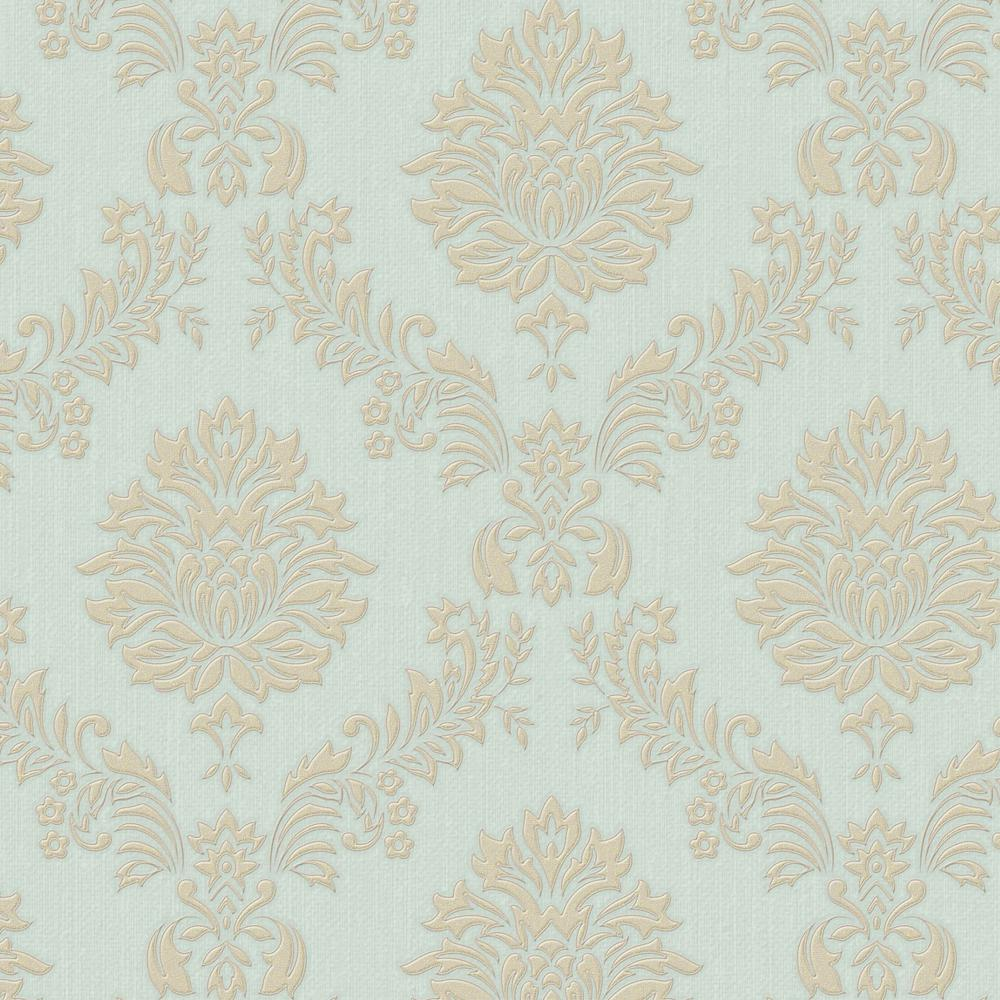 Gold and Teal Jacquard Wallpaper
