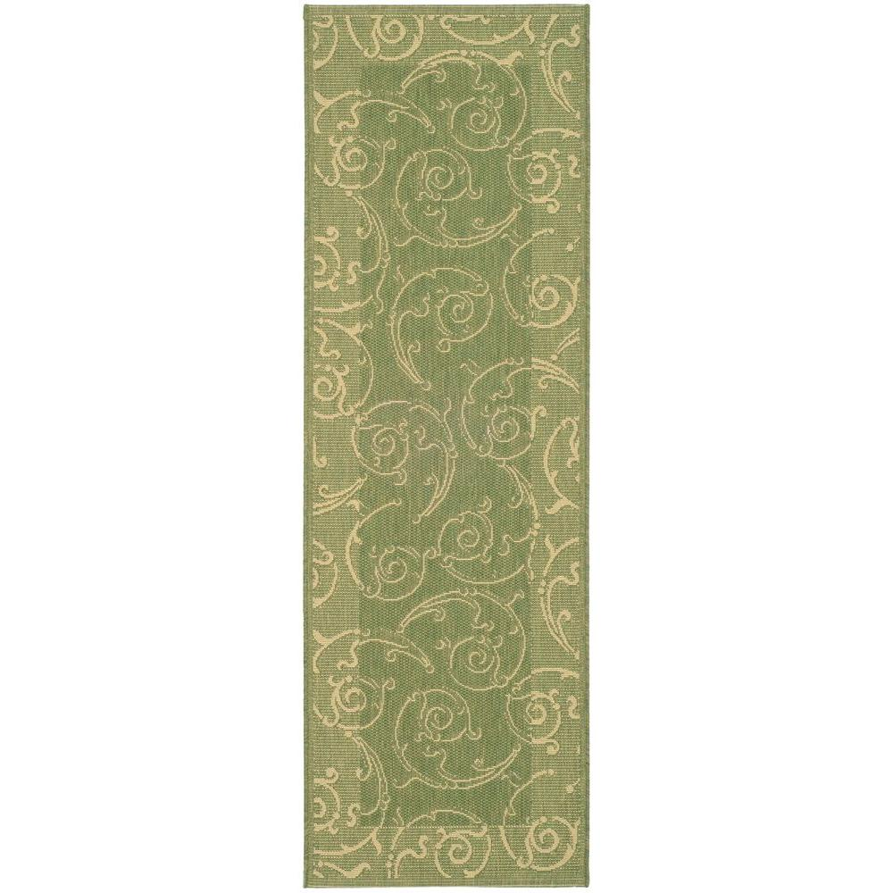 Courtyard Olive/Natural 2 ft. 3 in. x 10 ft. Runner