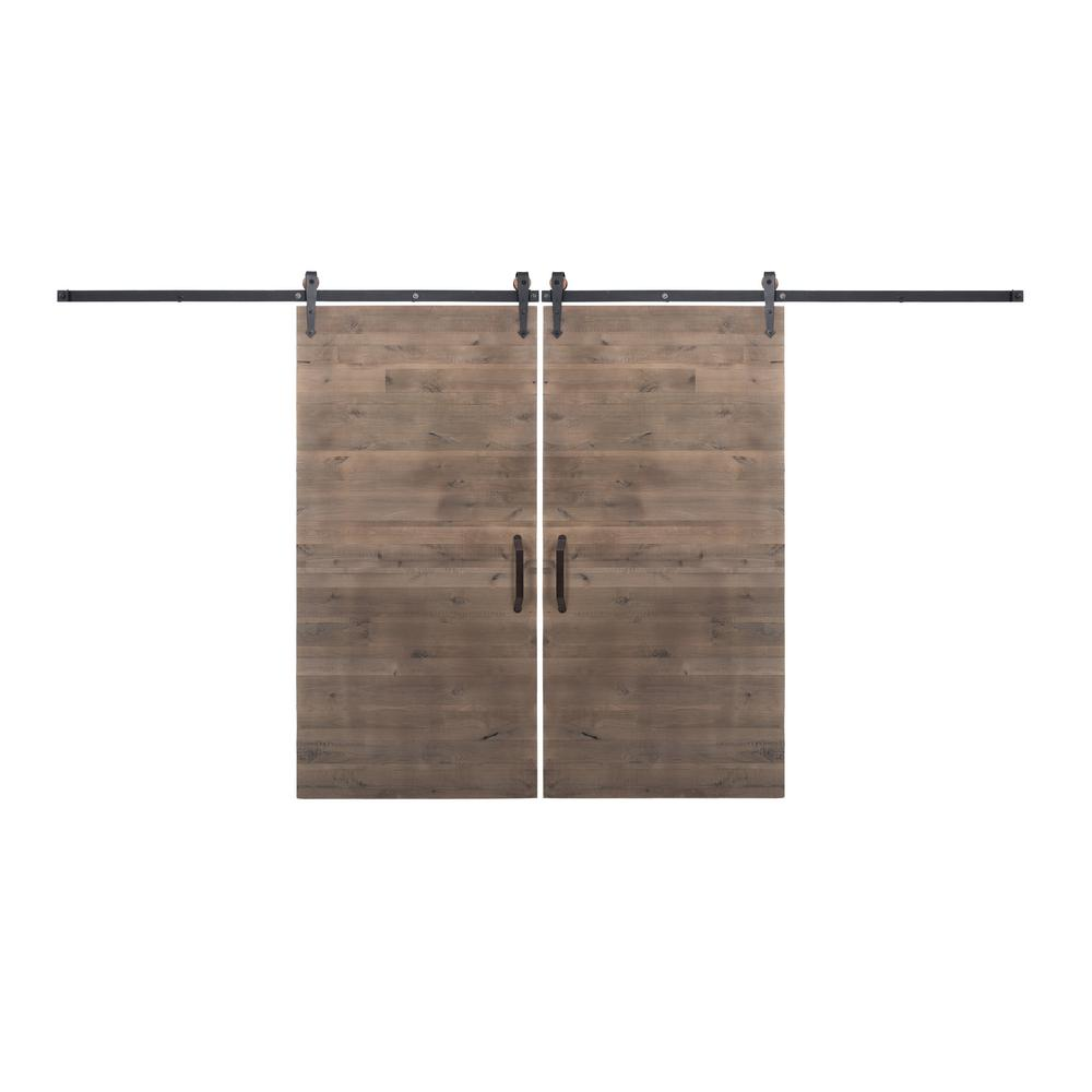 Rustica hardware bi parting 42 in x 84 in rustica reclaimed home depot gray barn doors with - Barn door track hardware home depot ...