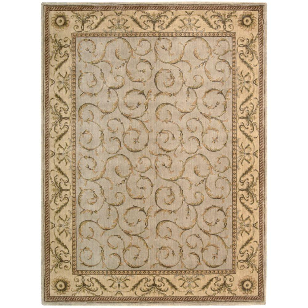 Nourison Overstock Scrollwork Blue 3 ft. 6 in. x 5 ft. 6 in. Area Rug