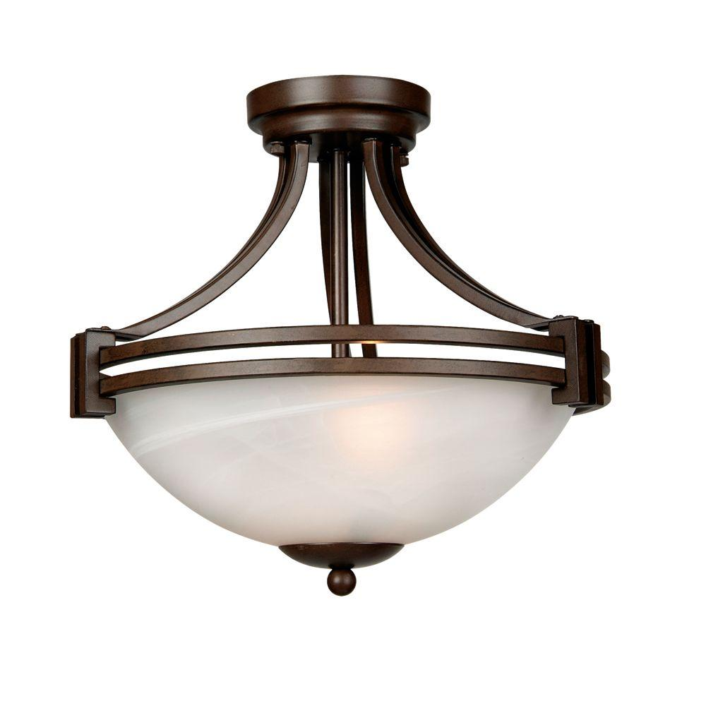 Yosemite Home Decor Sequoia Lighting Collection 2-Light Dark Brown Pendant with Frosted Alabaster Glass Shade
