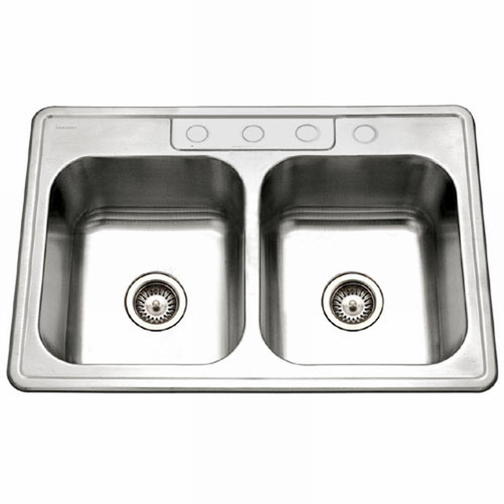 Glowtone Series Top Mount Stainless Steel 33 in. 4-Hole Double Bowl Kitchen Sink