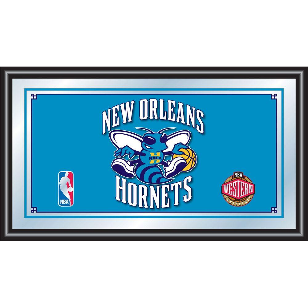 null New Orleans Hornets NBA 15 in. x 26 in. Black Wood Framed Mirror