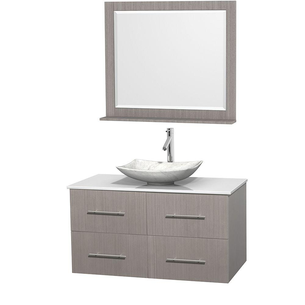 Centra 42 in. Vanity in Gray Oak with Solid-Surface Vanity Top